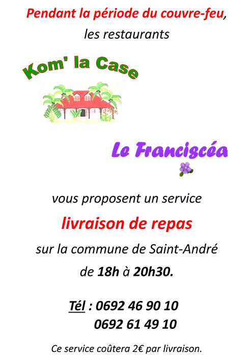 affiche livraison couvre feu - Restaurant Kom La Case